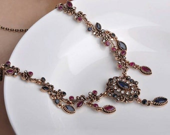 Turkish vintage look blue sapphire and Ruby necklace