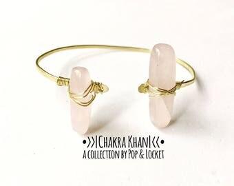 Heart chakra cuff, heart chakra bracelet, heart chakra, chakra khan, chakra bracelet, pink quartz, rose quartz cuff, rose quartz bracelet