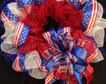 Red, white and blue wreath, Memorial day wreath, 4th of July wreath, patriotic wreath