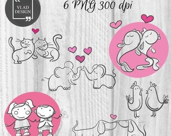 Couples in love Clipart Valentine's Clipart Digital Love Elements Cute Love graphics Couples clipart Romantic wedding Animals clipart