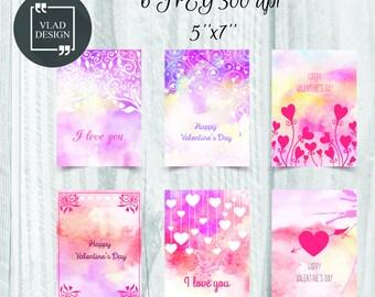 5''x 7'' Digital Watercolor Love card St. Valentine's card Love DIY Printable cards Fall in love card Greetings card Love card