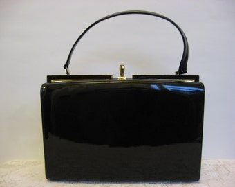 Vintage Handbag,Black Patent,Glossy Purse,Drop Handle,Single Closure,Naturalizer Bag,Non Leather,Footed Base, 1960s