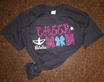 Personalized Cheer Mom Shirt- Glitter Cheer Mom Shirt, Cheerleader's Name, Chevron, Proud Cheer Mom, Cute Cheer Mom Shirt