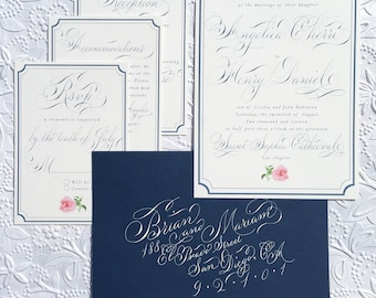 Navy theme custom wedding invitation suite. Gala script. Custom RSVP card calligraphy, fancy calligraphy wedding invitations