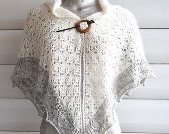 Luxury item, hand spun and hand knit 100% angora triangular  lace shawl, happy bunny fibre!
