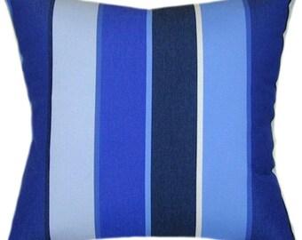 Sunbrella Milano Cobalt Indoor/Outdoor Striped Pillow