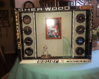 Hockey Puck & Memorabilia Display