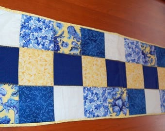 Bright Table Runner / Blue, Yellow and White Table Runner / Table Protector / Quilted Table Runner