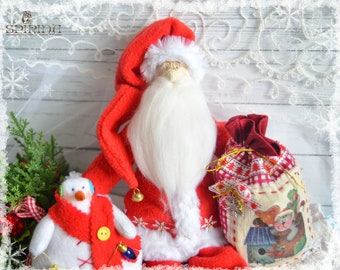 Santa Claus with bagand snowman - Santa Claus Tilda - Holiday gifts-Christmas decor-Christmas doll-Christmas decorations