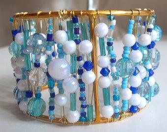 Blue white bangle bracelet