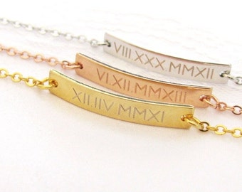 Custom Date Bracelet Engraved with Roman Numerals – Gold Plated, Silver Plated or Rose Gold Plated Date Bracelet