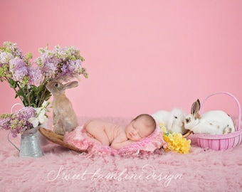 Easter Newborn Digital Background - Pink Easter with real Bunnies