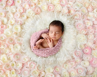 Newborn Digital Background for Girls - Fresh Flower Wall