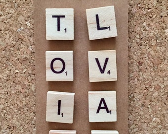 scrabble letter tile thumb tacks push pins magnets free shipping