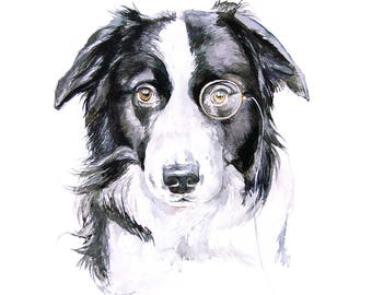 Border collie dog portrait custom pet art commission pet watercolor painting wall art home decor gift wall art from Romalena memorial art
