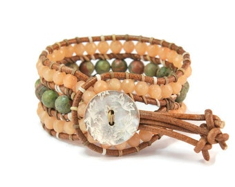 Boho Safari *  Jade & Unakite. 3 strand Wrap Bracelet. Boho Style. Bohemian Jewelry. Semiprecious stones. Gift for her. Cuff Bracelet.