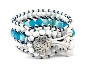 Blue Miracle * Howlite & Agate. 3 strand Wrap Bracelet. Boho Style. Bohemian Jewelry. Semiprecious stones. Gift for her. Cuff Bracelet.