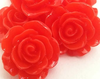 5pcs- 15mm decoden red rose flower cabochon resin flatback beads jewelry embellishment supply decorate phone case scrapbooking