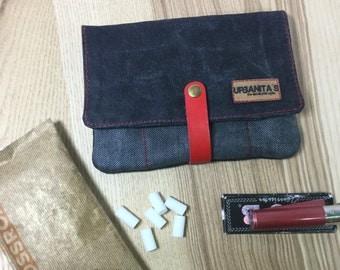 Cover of tobacco rolling Urban denim / Tobacco pouch Waxed denim / tobacco portfolio / Waxed canvas / cigarette tobacco case