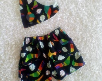 CLEARANCE / Toucan Shorts with matching dribble bib / baby boy shorts / Boys shorts / Dribble Bib /  Bandana Bib / Toucan / baby boy clothes