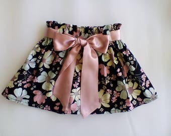 Girls skirt / Black floral skirt / paperbag waist / blush pink ribbon / girls clothing / baby girls clothing / 1st Birthday present