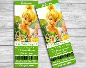 TInkerbell invitation for Tinkerbell birthday party, Tinkerbell invitation, Tinker Bell Ticket, Tinker Bell Thank you card | MTI_5