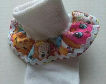 Shopkins inspired ruffle socks, Girls ruffled socks, Baby shopkins socks, toddler socks, white ruffle socks