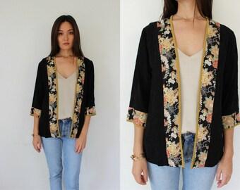 Vintage Asian Inspired Rayon Open Jacket, Kimono