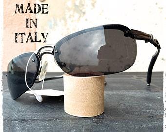 Occhiali da sole uomo rettangolare avvolgente metallo canna di fucile Sunglasses man rectangular enveloping gunmetal steampunk Made in Italy