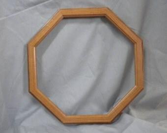 Octagon Picture frame, oak finish,