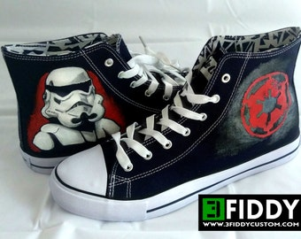 Hand Painted Sneakers Trainers inspired by the Star Wars Stoormtrooper. We tailor to your taste!