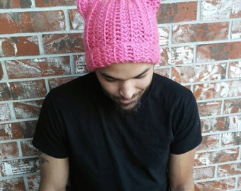 Pink Pussy Project Hat, pink pussyhat, pussy cat hat, pink cat hat, women's march hat, pussyhat project, women's rights hat, men's pussy hat