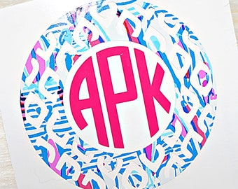Ikat Monogram Vinyl Decal- Lilly Pulitzer Inspired - Two-Tone
