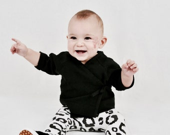 Black linen baby kimono