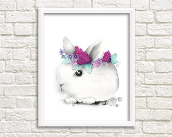 Rabbit watercolor illustration / poster print 8 x 10 / decorative design / wall decoration / rabbit / Katrinn illustration