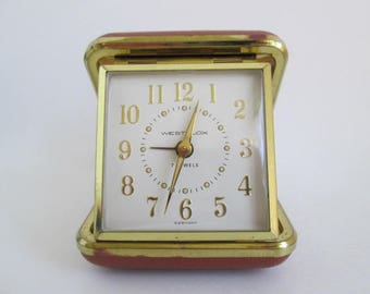 Vintage Westclox 7 Jewels Travel Alarm Clock With Original Box & Manual Made in Germany