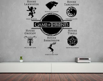 Game Of Thrones Wall Sticker House Sigils & Motto's Vinyl Decal Winter Is Coming Stencil Gift