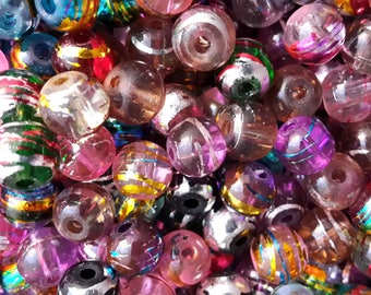 Mixed Drawbench Translucent Beads - 4mm, 6mm, 8mm
