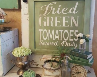 Hand Painted Fried Green Tomatoes  wood framed sign