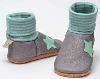 Leather baby shoes, baby shoes, girls booties, leather shoes