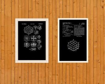 Rubix Cube Patent Art: Rubix Cube patent Print, Rubix Cube Patent Art Print, Rubix Cube Poster, Patent Prints Set Of 2, Vtg Patent Print
