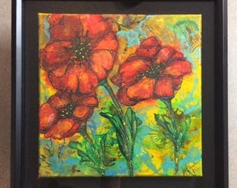 Painted Poppies. Hand Painted Acrylic Ink on Canvas, Framed 12x12