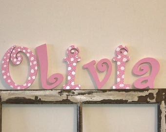 Hand painted, pink and white polka dots, wood letters for a girls room or nursery