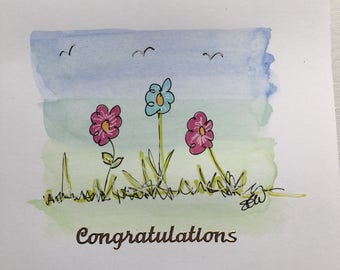 "Watercolour painted ""Congratulations"" Card"