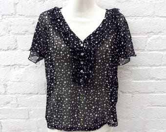 Polka dot top, vintage blouse, women's sheer shirt