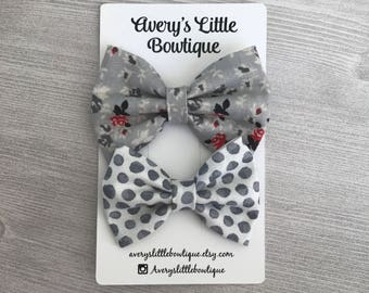 Set of two gray bows - baby girl gift - hair  accessories - spring outfit - bows for girls
