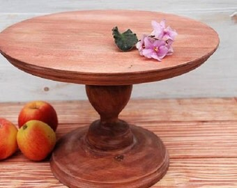 "12"" inches Cake stand vintage,natural cake stand,chic cake stand,rustic cake stand,round cake stand,narural wood cake holder,cake pedestal"
