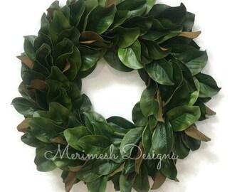 Magnolia Wreath, Fixer Upper Wreath, Faux Magnolia Leaf Wreath, Farmhouse Wreath, Spring Magnolia Wreath, Rustic Wreath, Front Door Hanger