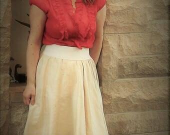 Ivory 100% dupioni silk skirt