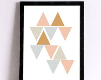 Graphic canvas triangle 30 x 40 cm decorative wall post pastel Scandinavian poster